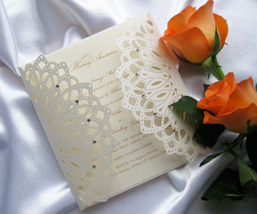 Laser-cut gatefold wedding invitation
