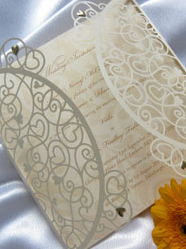 Laser Cut love heart Wedding Invitations