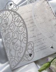 Laser Cut Filigree heart Wedding Invitations