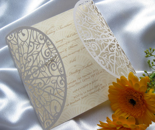 Art Deco laser cut wedding invitation