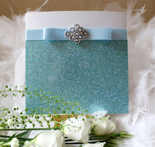 Azure sparkle wedding invitation