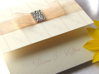 peach wedding stationery