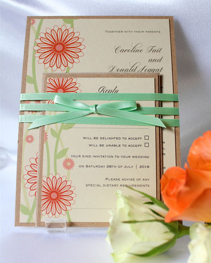 Bundles Summer Daisies colourful wedding invitation and rsvp card. Recycled card printed with quirky flower deign and tripple wrpped with pistachio satin ribbon.