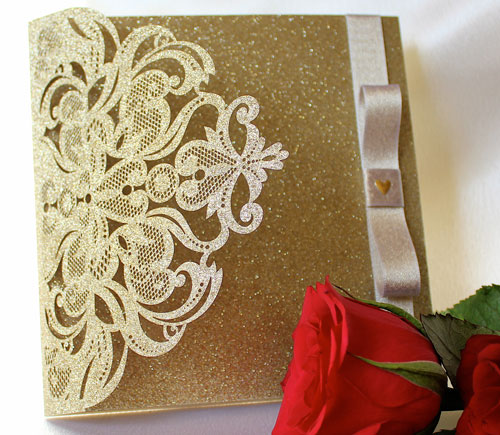 Laser Cut gold glitter pocketfold