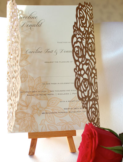 Rose Gold Glitter Roses laser cut wedding invitation with ivory pearlescent insert