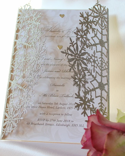 Snowflake Silver Glitter laser cut wedding invitation in Silver Glitter Card