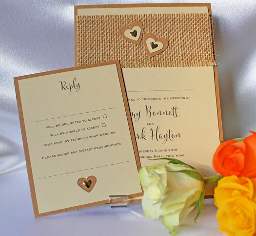 Rustic Hessian wedding invitation with natural hessian strip and two layered hearts with gold metal hearts