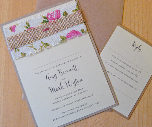 Rustic Vintage Rose flat wedding invitation with rose patterned linen ribbon and narrow hessian strip with ruby crystals